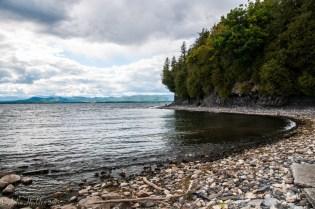 The shoreline of Lake Champlain at Shelburne Farms