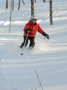 Patty Beaupre cuts the freshies on the Mad River Backside.