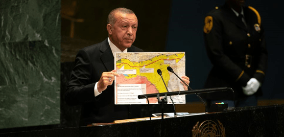 """Source:  https://www.bloomberg.com/Erdogan has repeated his demand for the full 440-km zone of occupation since the invasion started. He said as much to US officials, including President Donald Trump.  """"The 'safe zone' will stretch 440km along Turkey's border from the Euphrates river to the Iraqi border, Mr Erdogan told reporters. Mr Pence said late on Thursday it would run 30km deep, but did not specify the total expanse. Some areas that Turkey wants to hold in the safe zone are now under Syrian, Russia and Kurdish control."""""""