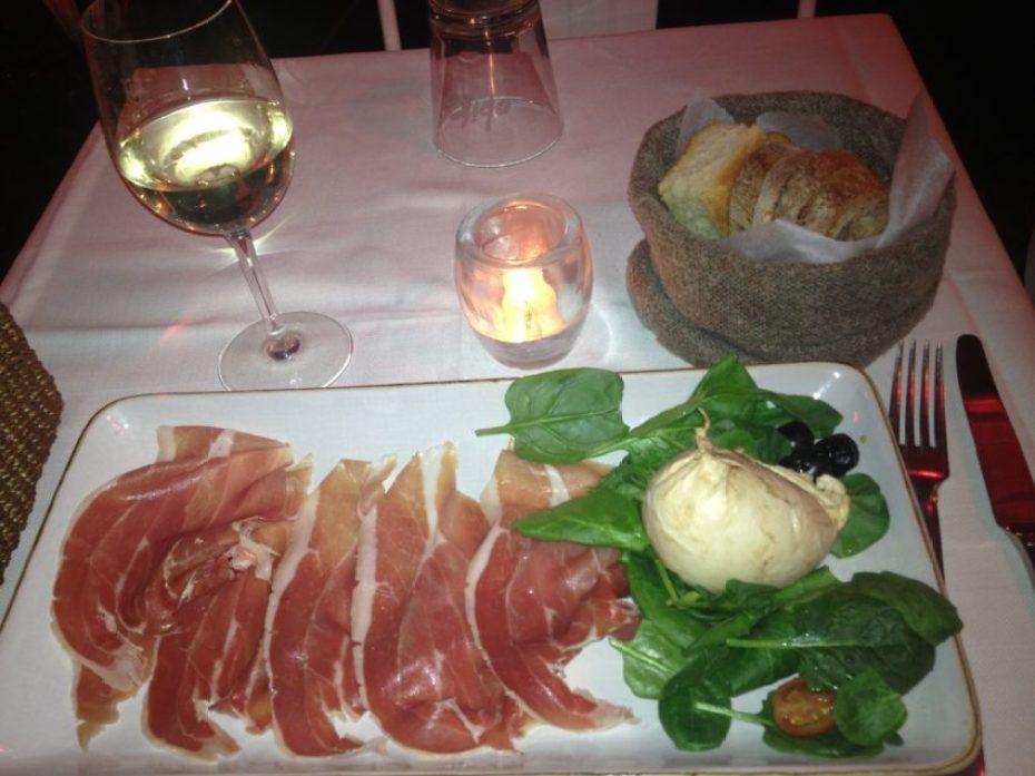 Twenty-year-aged Parma ham and smoked bufala mozzarella at Obika', in the heart of pulsating Campo dei Fiori.