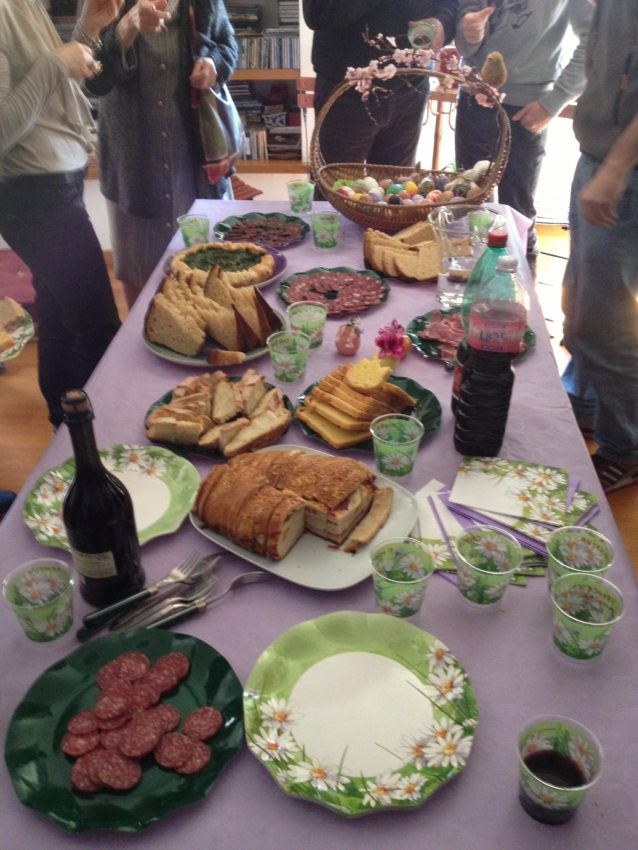 Just part of the Easter Sunday feast at the Castellanis.
