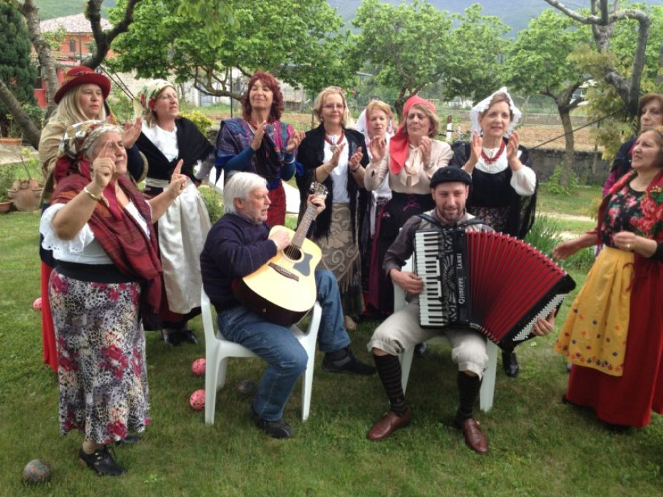 Women sing traditional traditional Abruzzese songs at the Primo Maggio celebration.