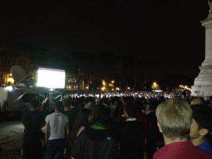 Some of the estimated 20,000 people in Piazza Madonna di Loreto