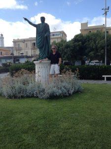 Me in Anzio next to the statue of Emperor Nero who was born in the port city.