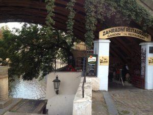 One of the restaurant/beer gardens under the Charles Bridge.