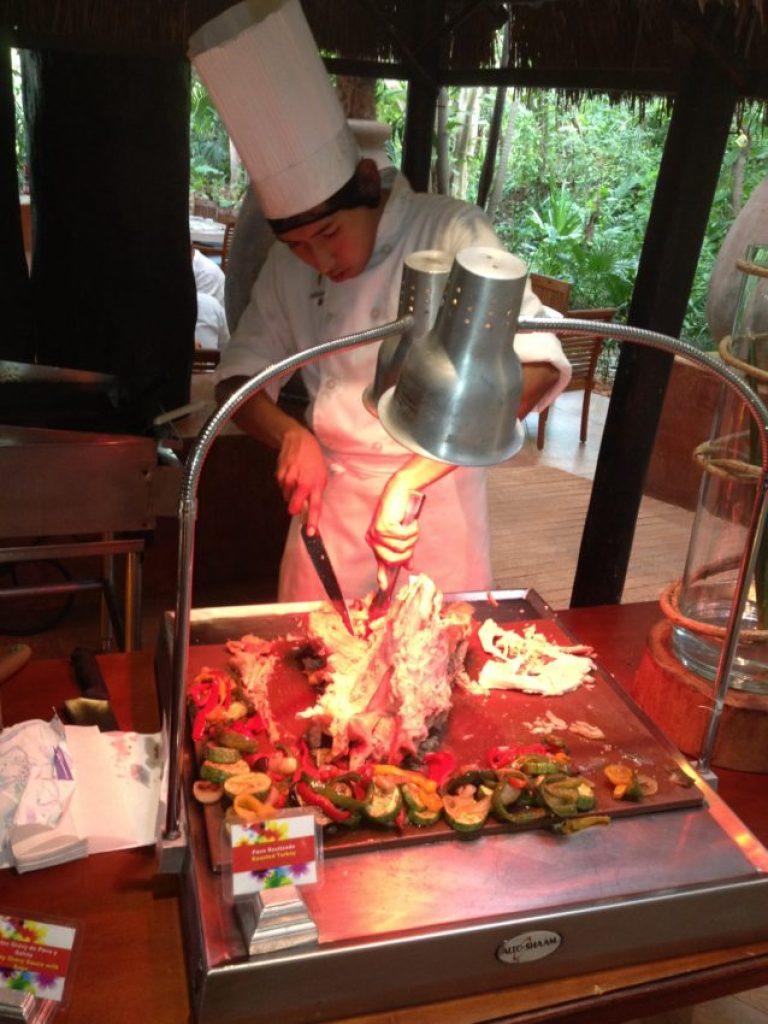 Fresh turkey at the free buffet breakfast.
