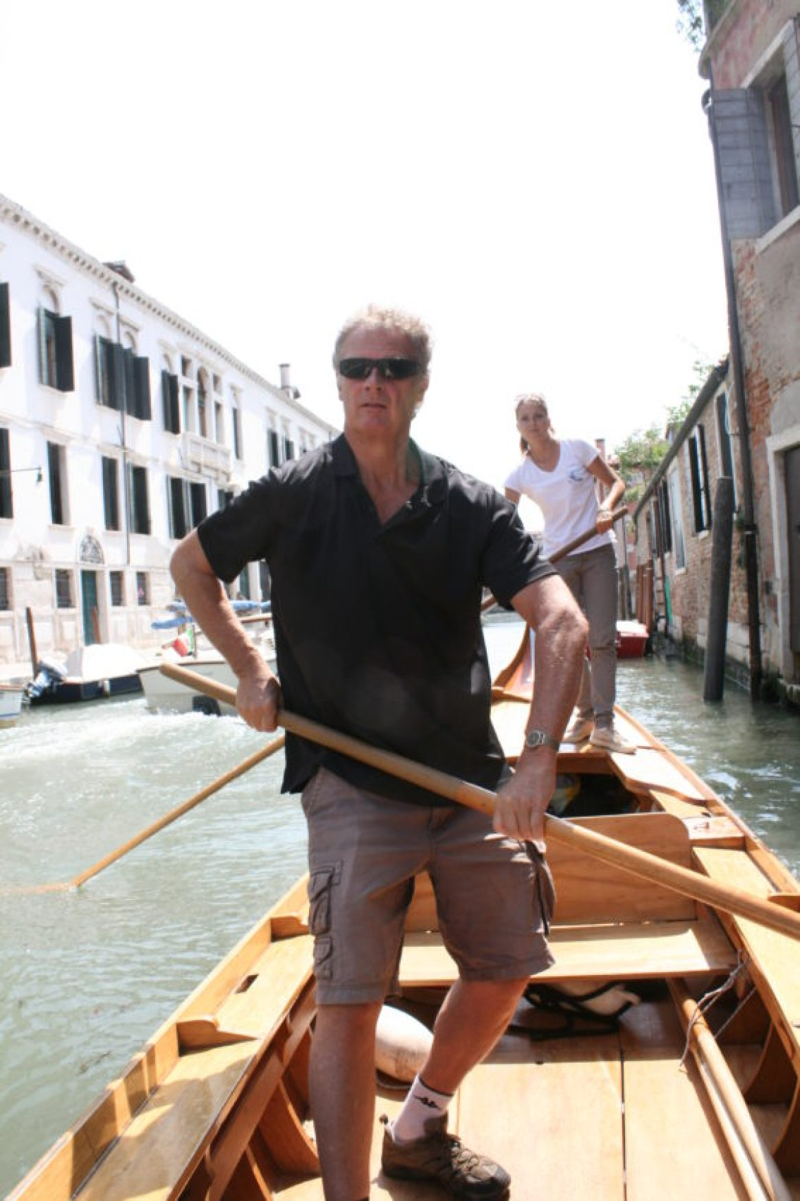 Rowing a canoe in Venice is not nearly as easy as people make it look which I don't.
