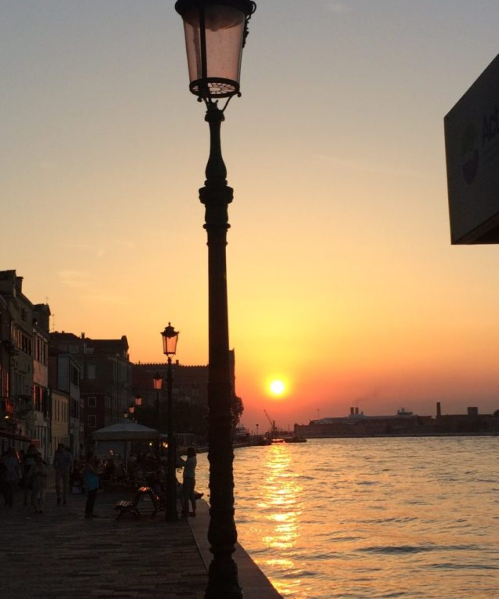 Venice at sunset from in front of my AirBnB apartment.