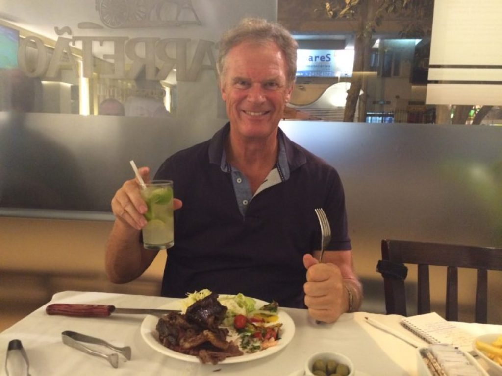 Me at Carretao, a rodizio where I ate meat off giant skewers for two hours.