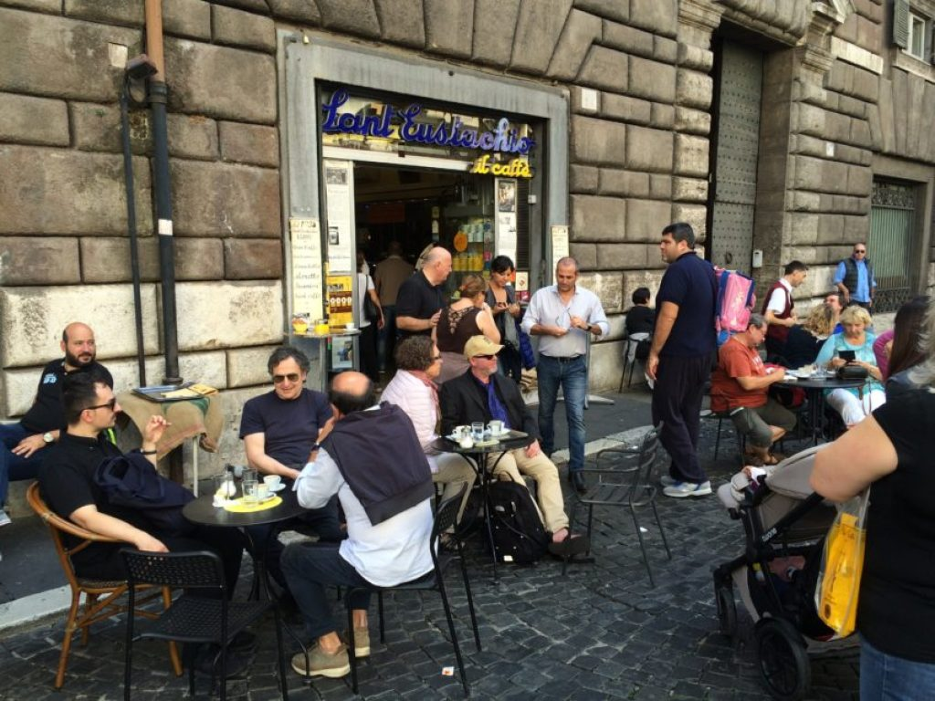 Caffe Sant'Eustachio began in 1938 and may be the most famous cafe in Rome.