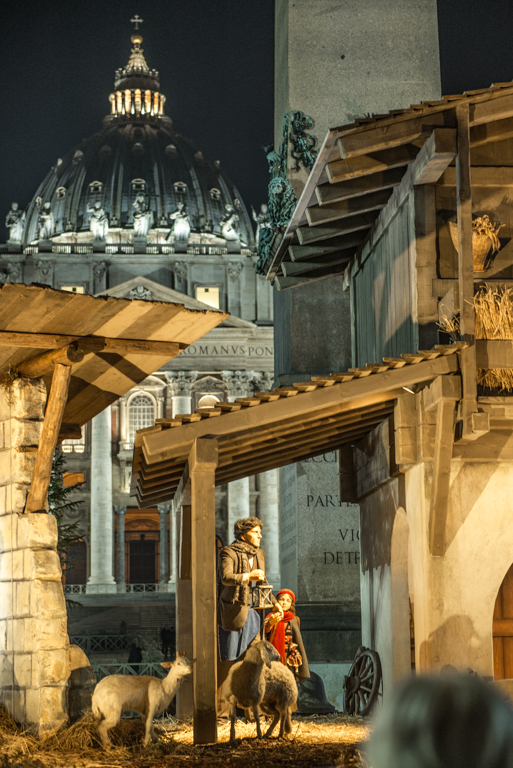 The nativity scene with St. Peter's in the background. Photo by Marina Pascucci