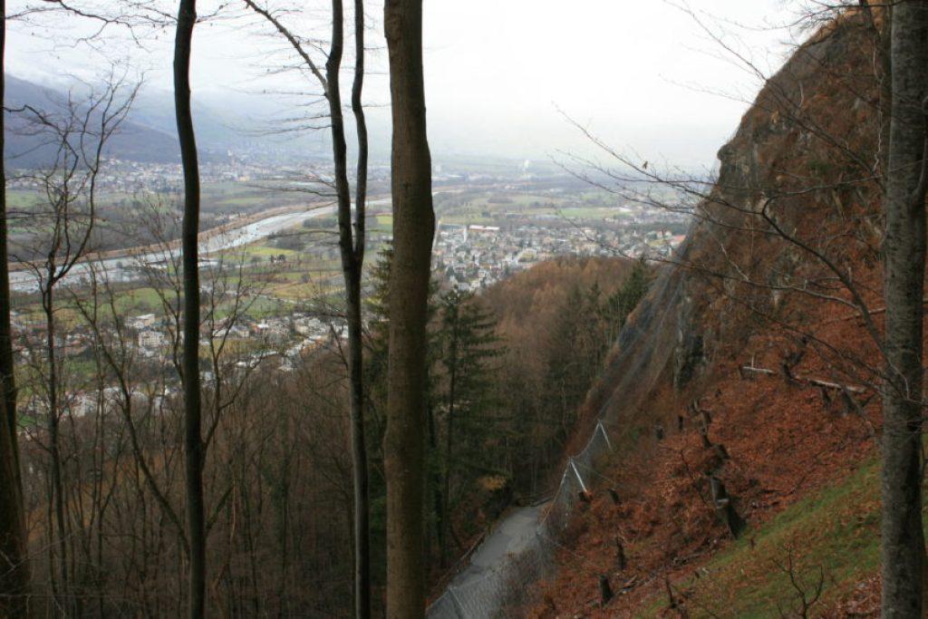 Liechtenstein stretches along the Rhine River between Austria and Switzerland.