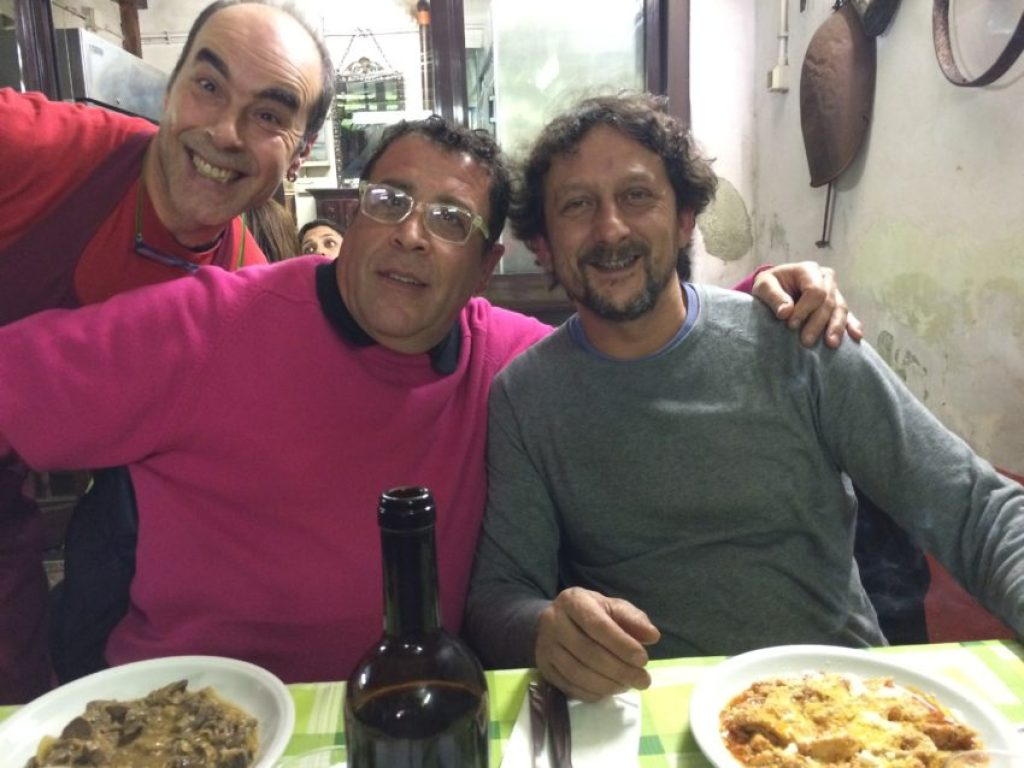 Angelo Bondi and Ivan Viti (and waiter behind) afterward at Betto & Meri.