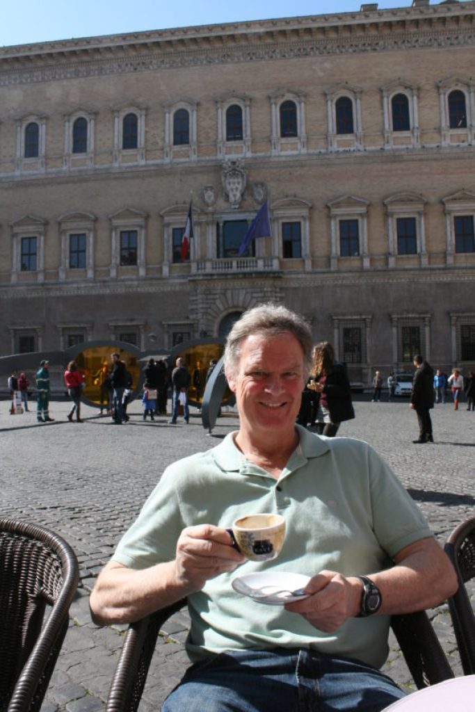 In Piazza Farnese with the French Embassy in the background.