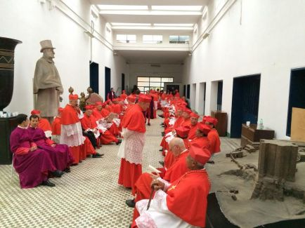 """The 120 cardinals wait to take center stage in the filming of """"The Young Pope."""""""