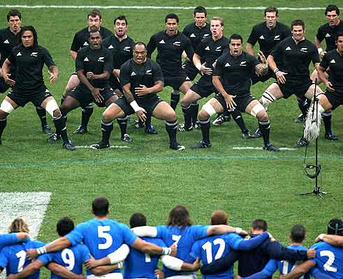 The All Blacks perform the Haka before the Italy match.