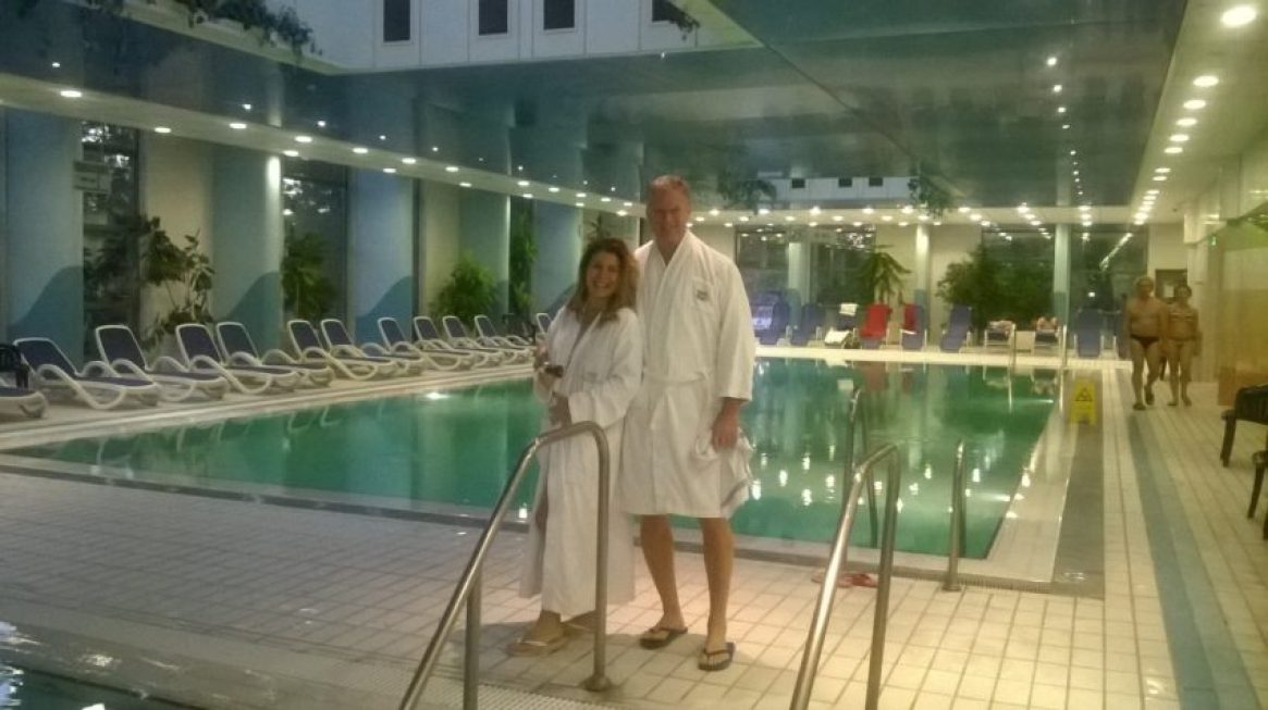 Marina and I at the thernal pools in Budapest's Danubias Hotel Helia.