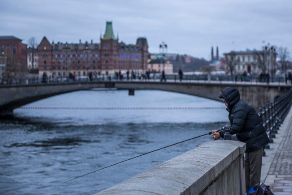 Stockholm is so clean people fish near downtown. Photo by Marina Pascucci
