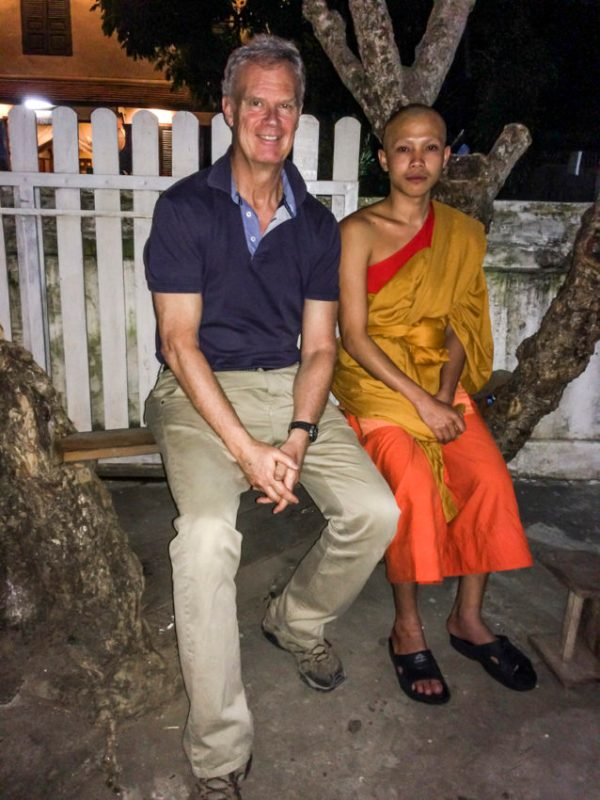 Me and Bounnakh, 19, outside his monastery in Luang Prabang.