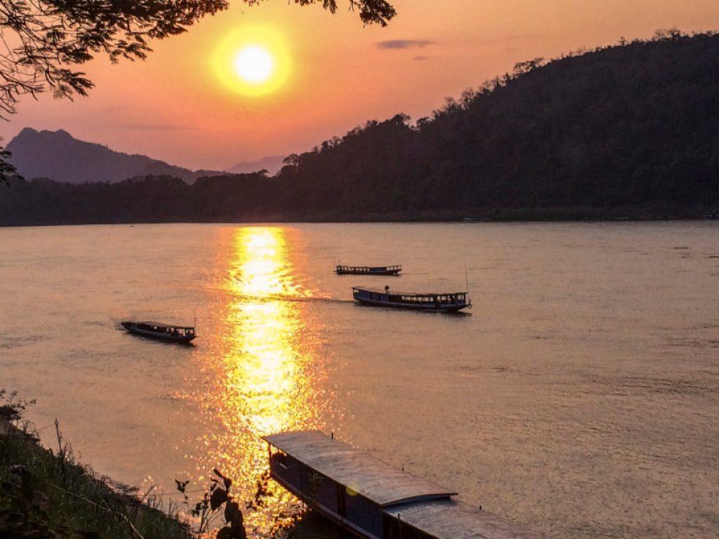 The Mekong River at sunset in Luang Prabang.