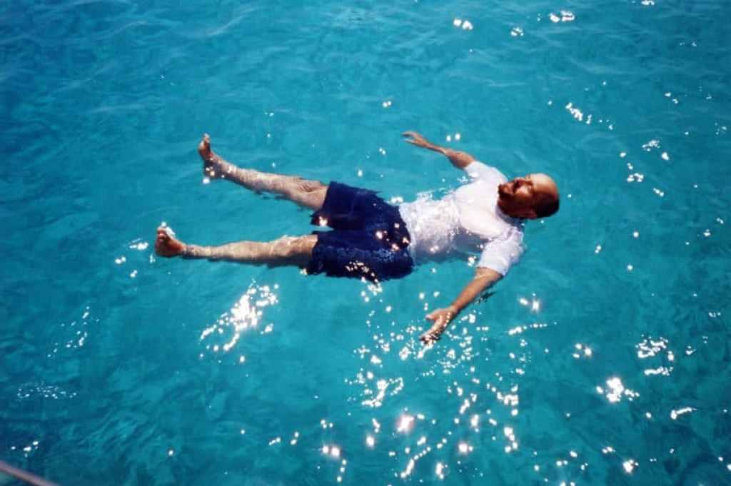 My good friend, Giovanni Bertolani, floating in Favignana in summer.