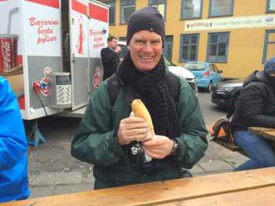 Me eating one of the few affordable foods in Iceland: a $4.50 hotdog (though Bill Clinton called it the best hotdog he's ever had.)
