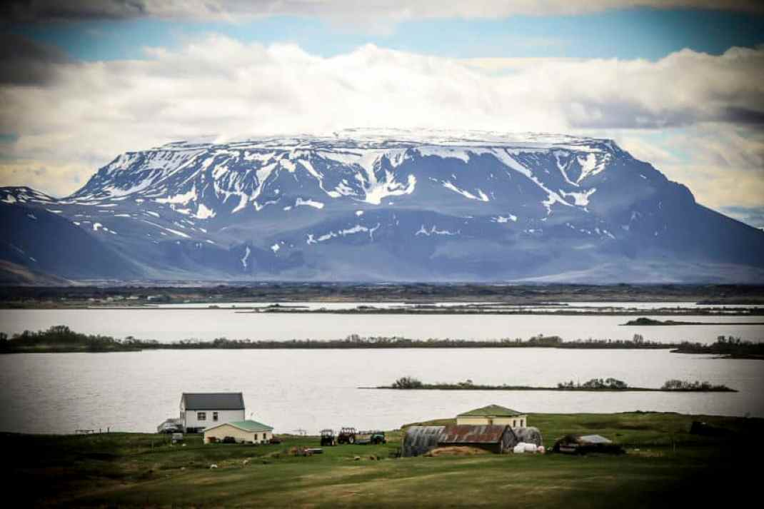 Hverfell crater across Lake Myvatn in North Iceland is one of the country's many majestic landmarks.