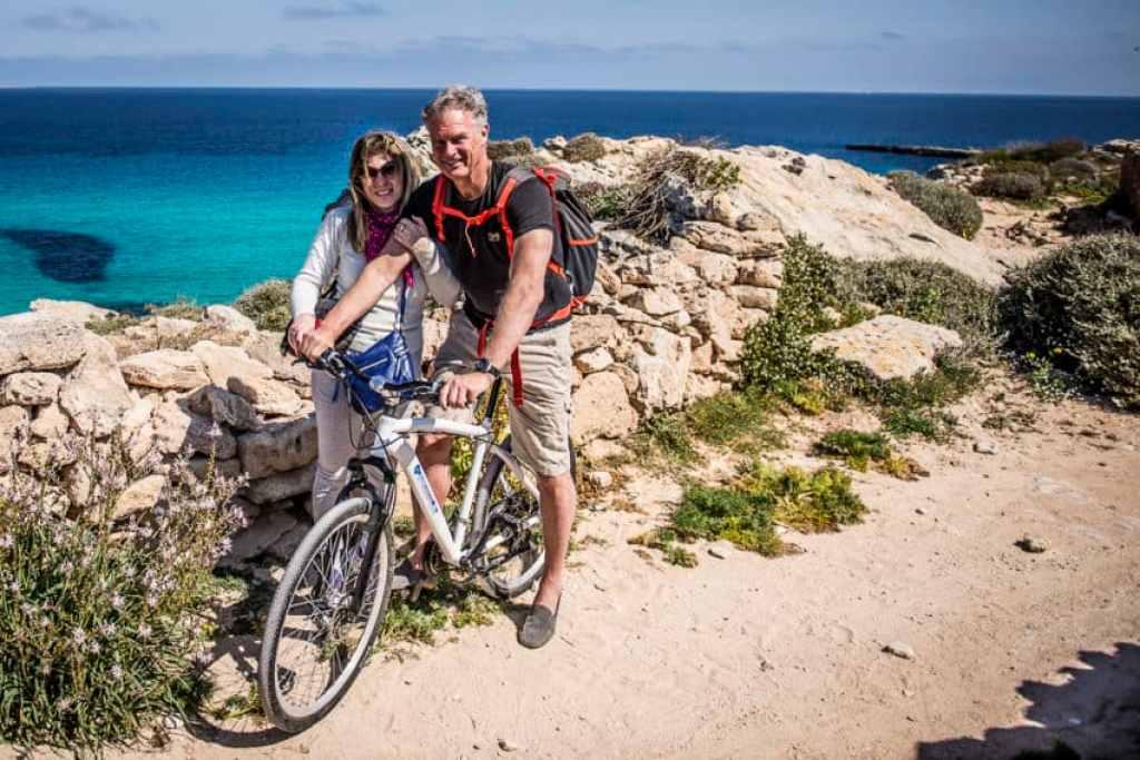 Marina and I. Bike is the main form of transport on Favignana.