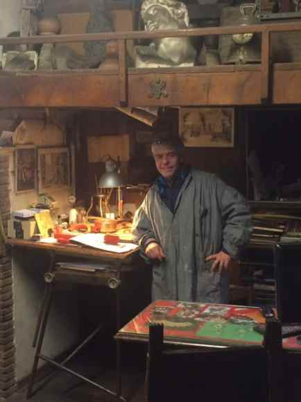 Paolo Pugelli, in the Bottega Mortet shop, has been an artisan for 48 of his 62 years.