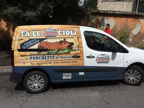 Porchetta truck in Ariccia, the birthplace of the suckling pig treat.