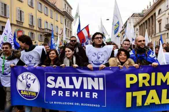Supporters of Matteo Salvini, leader of The League, Italy's ultra-right party, campaign ahead of Sunday's election. Photo by The Nation