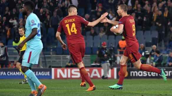 Edin Dzeko after his goal put Roma up 1-0 in the sixth minute. SI.com photo