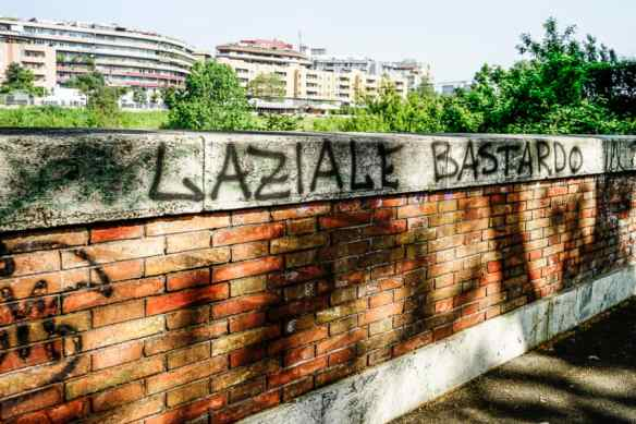 Testaccio truly is AS Roma territory. This graffiti along the Tiber is across the street from my flat. Photo by Marina Pascucci