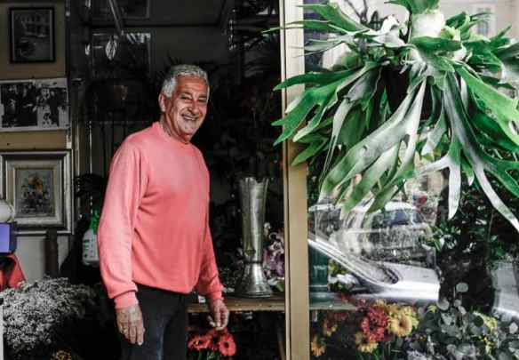 Marcello, my flower man in my piazza. Photo by Marina Pascucci