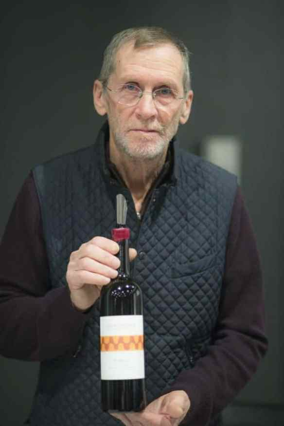 Thomas with his Iubelo wine of 100 percent Sangiovese. Photo by Marina Pascucci