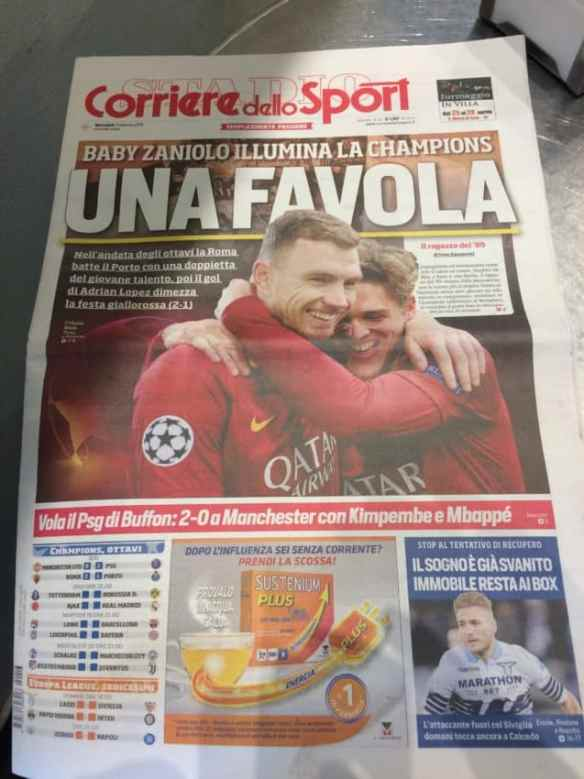 "Heroes Edwin Dzeko and Nicolo Zaniolo made the cover the next day under the headline ""A FAIRY TALE."""