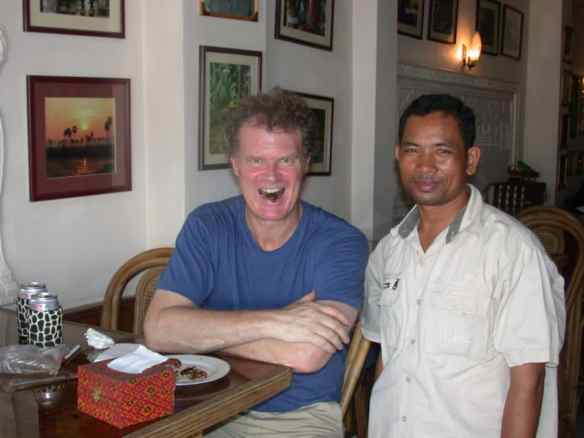 Eating insects in Phnom Penh with my Cambodian friend and insect advisor, Samnieng Bee.