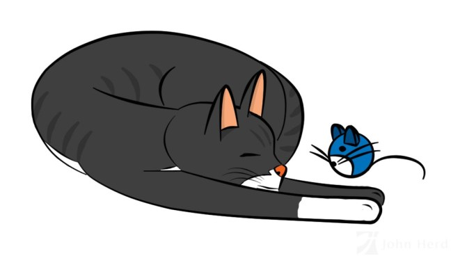 Cartoon Cat drawn in Adobe Photoshop - Colour