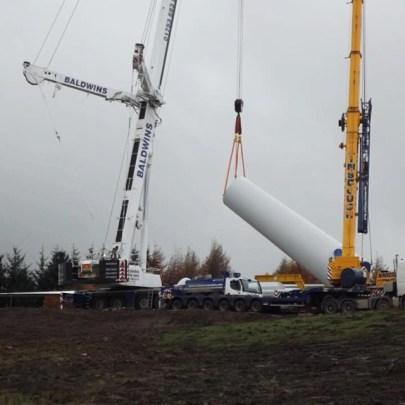 YOO Energy wind turbine being erected