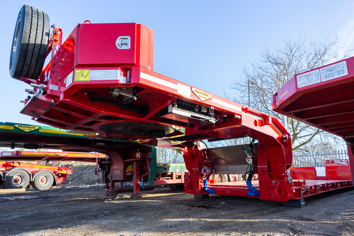 A Broshuis SL 2 Low Loader for hire from John Hudson Trailers.  Features independent suspension and an SL bogie that is lower than beam axles or pendular axles.
