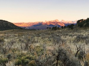 Cimarron mountains in alpenglow