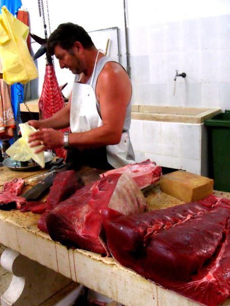 Fishmonger Selling Tuna in Split, Croatia