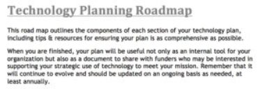Technology Planning Roadmap description