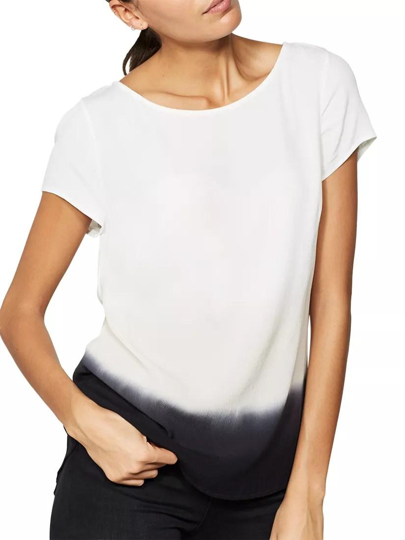 Mint Velvet Ombre Tie Back T-Shirt, Ivory/Ink at John ...