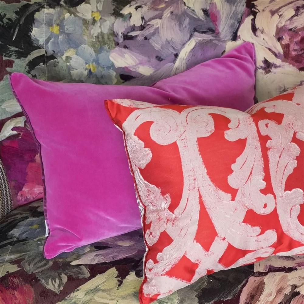 designers guild cassia velvet cushion magenta damson