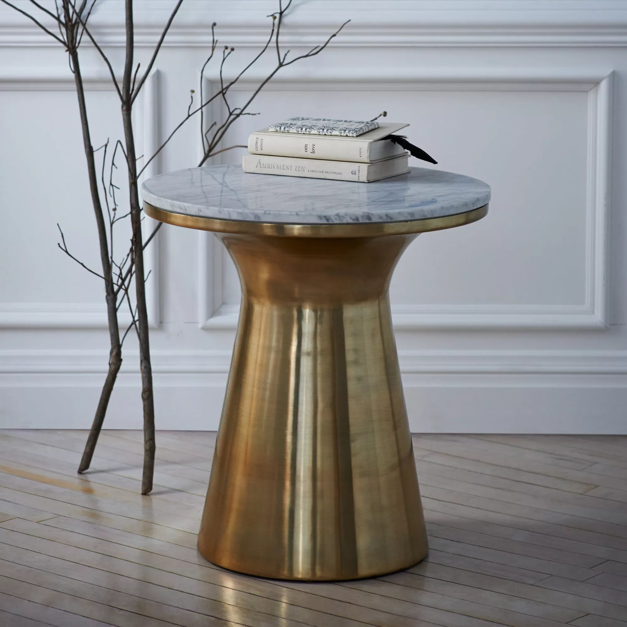 west elm marble pedestal side table at