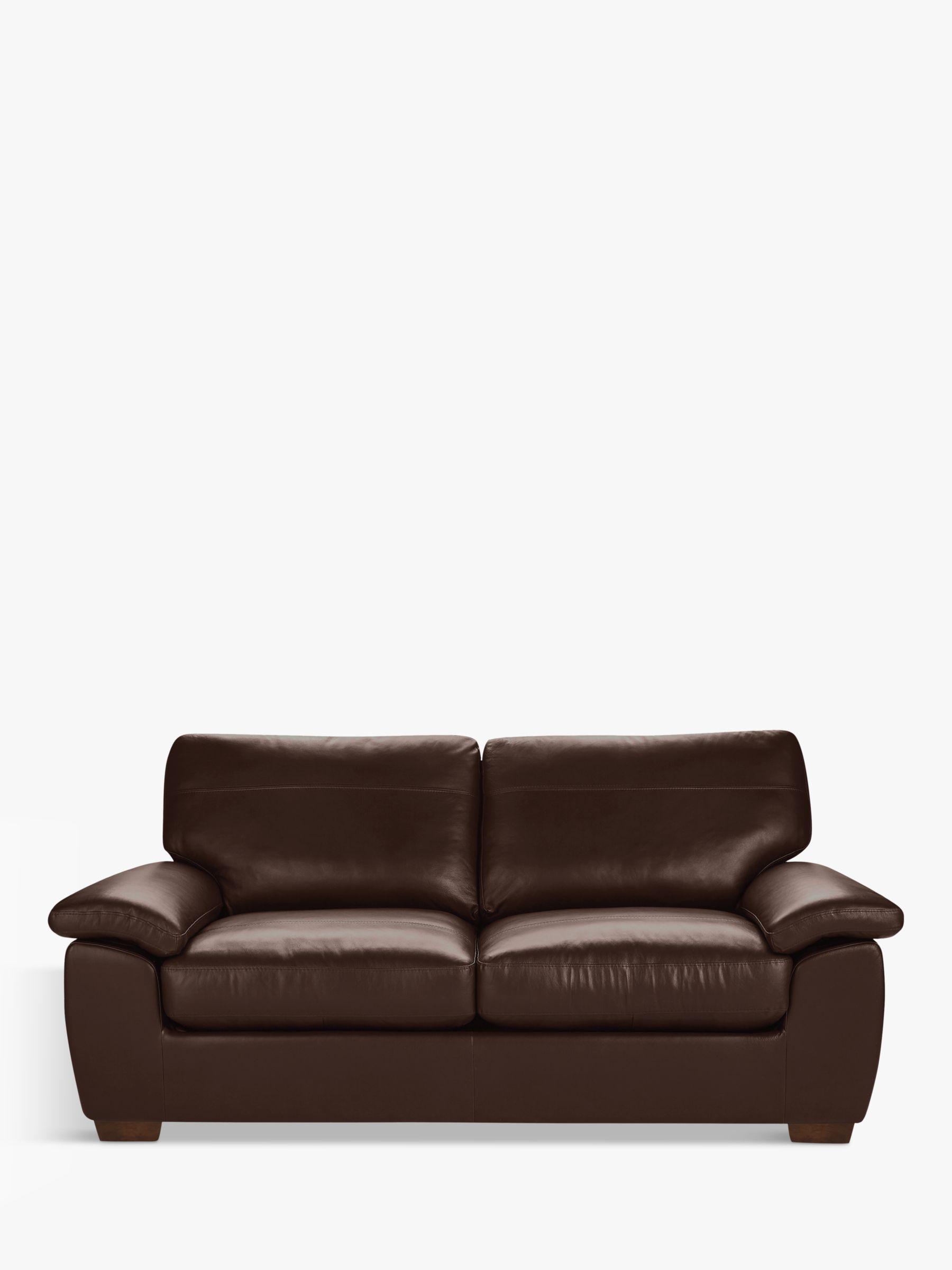 John Lewis Partners Camden Large 3 Seater Leather Sofa Dark Leg Nature Brown At John Lewis Partners