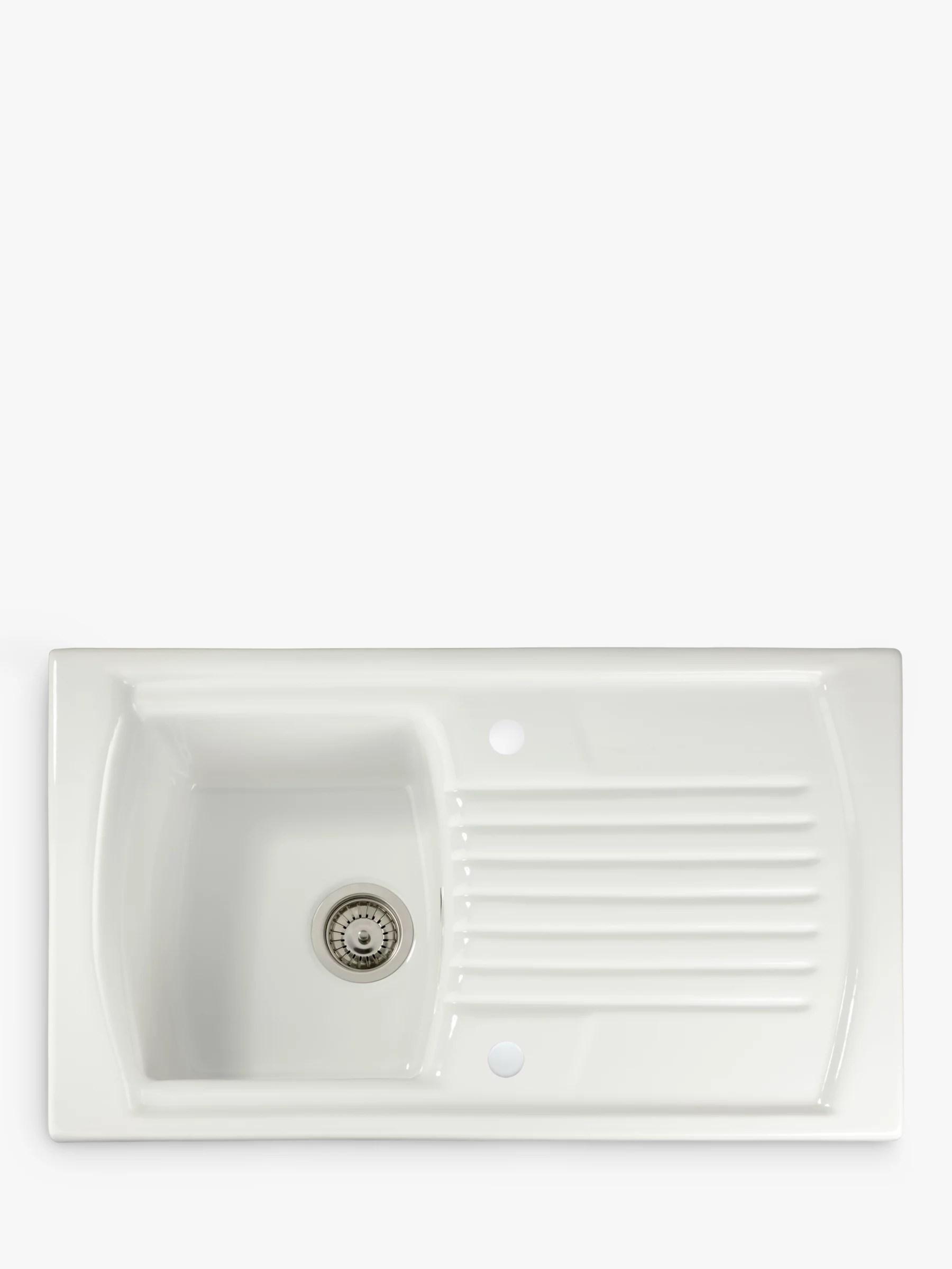 john lewis partners single bowl inset ceramic kitchen sink drainer white