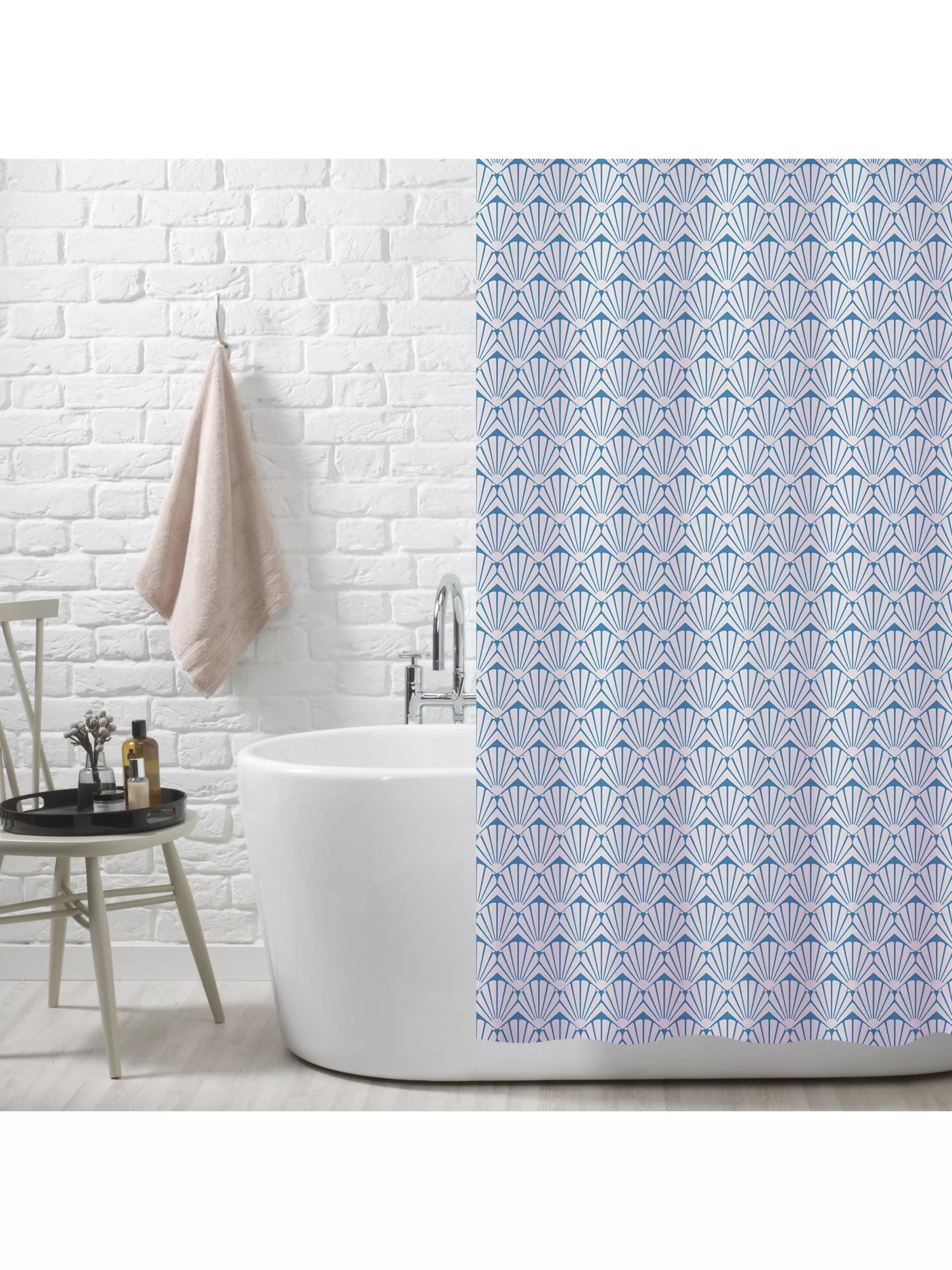 john lewis partners scallop shell recycled polyester shower curtain