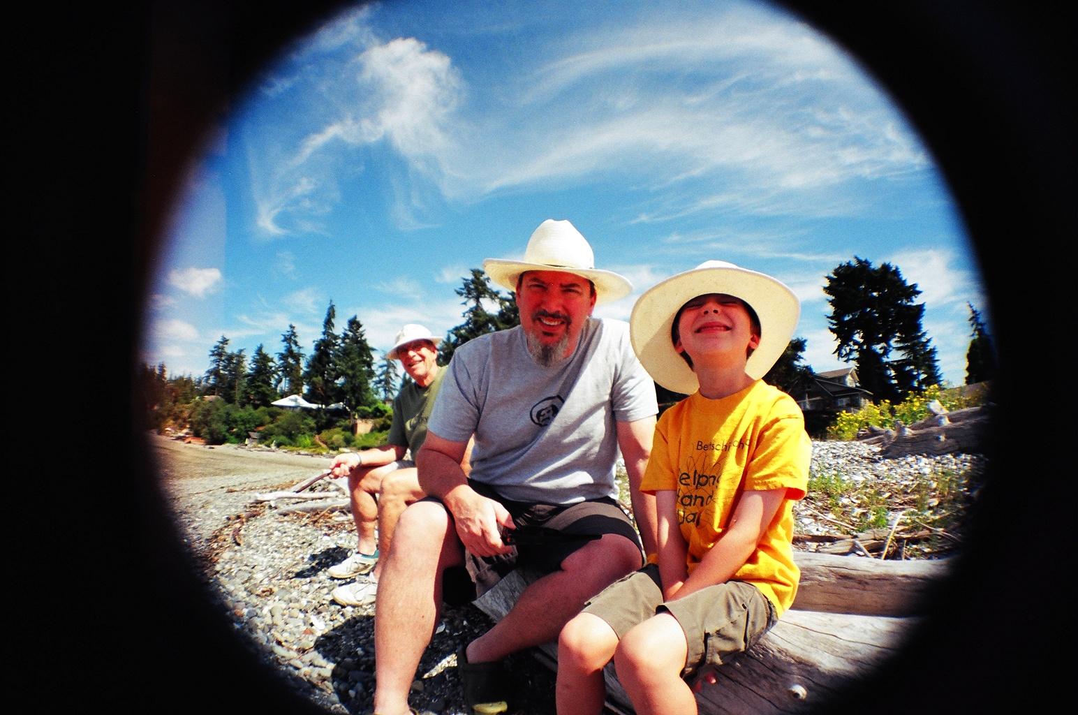 John and Owen, Wing Point beach, 2007